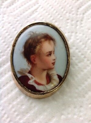 Vintage / Antique Hand Painted Victorian Boy Portrait Brooch W/ Old Style Clasp