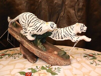 A set of White Tigers Collectible Wild Cat Animal Decoration Figurine Statue