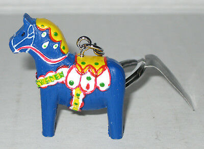 New Traditional BLUE Swedish Dala Horse KEYCHAIN Made in Sweden Nordiska