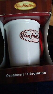 NEW 2011 Tim Hortons Christmas Ornament Porcelain Coffee Cup with BOX -