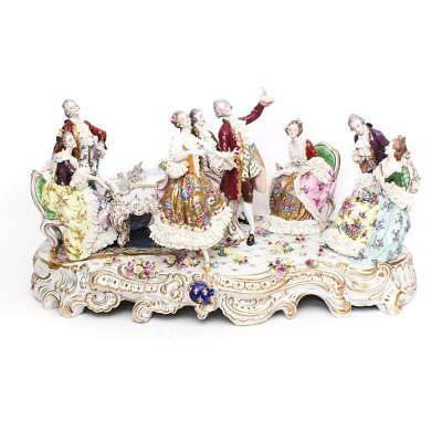 Spectacular Volkstedt Dresden Porcelain Lace Group Musical Scene