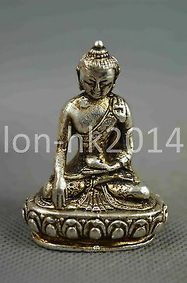 Collectible Handwork Old Miao Silver Carving Buddha Set Lotus Exorcism Statue