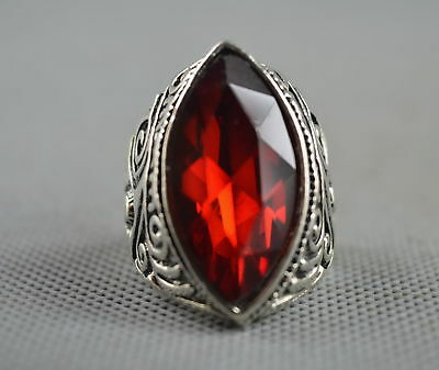 Collectable Handwork Decor Old Miao Silver Carve Flower Inlay Crystal Noble Ring