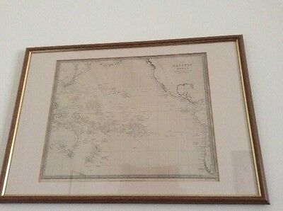 Antique Framed Map of The Pacific Ocean, 1840