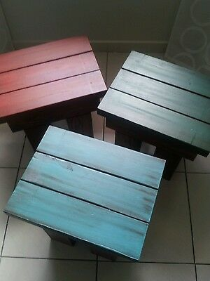 Wooden Painted/Stained Footstool or Step Stool (set of three)