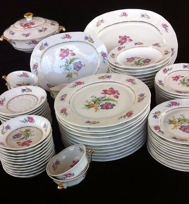 (80 pieces) Raynaud & Co Limoges 5-piece Settings for 11, plus extras