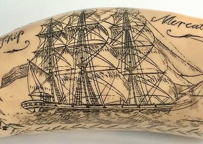 """Antique Scrimshaw Woman Ship Carved Faux Whale Tooth 8"""" Long"""