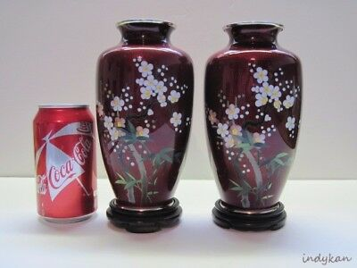 Pair Cloisonne Vases Japanese Pigeon Blood Red w Floral Accents Vintage Oriental