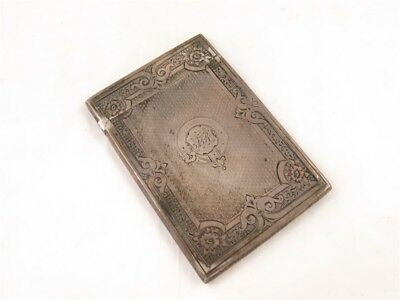 1869 Birmingham England Sterling Silver Etched Floral Victorian Card Case