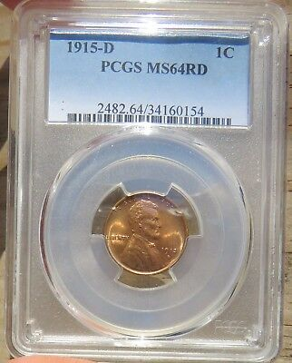 1915-D Lincoln, PCGS Certified MS-64RD.  Very PQ!