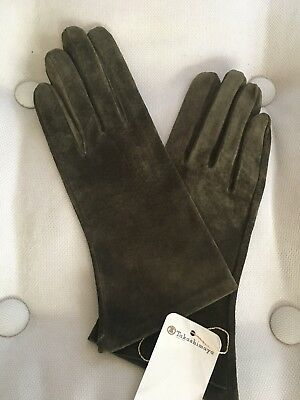 Takashimaya Vintage 1990s Womens Loden Green Leather Gloves from France 7.5 NWT