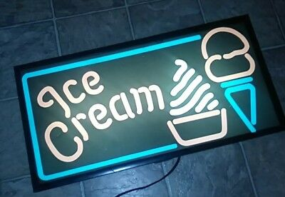 "Vintage  Ice Cream 26"" Lighted Sign Store Display Ice Cream"