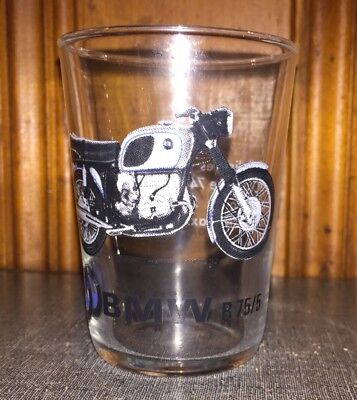 Vintage BMW R75/5 motorcycle Collectible glass tumbler Made In France