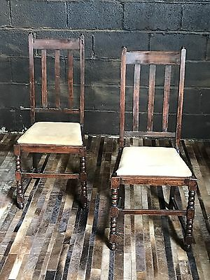 Superb Pair Of Antique Oak Dining Chairs
