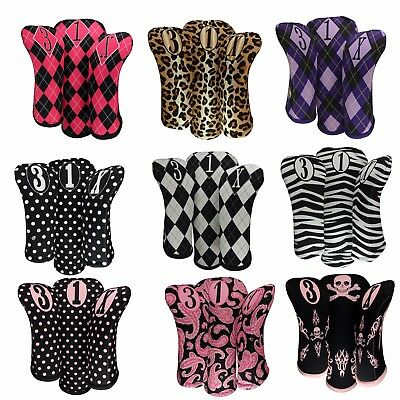 Set of Three Women's Golf Club head Covers 1-3-X. Made in USA by BeeJos