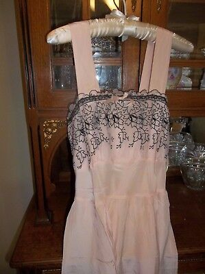 WW II Nightgown in Peach with Black Embroidery, Small!