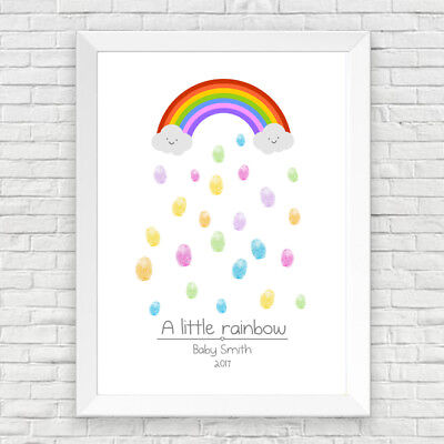 Baby Shower / Birthday / Christening Personalised Rainbow Fingerprint Tree