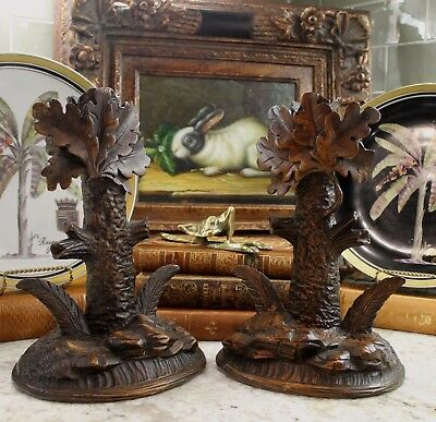 Antique French Oak Pair BLACK FOREST Hand Carved Candlesticks Candle Holders