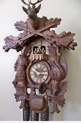 Large 8-DAY MUSICAL HUNTER CUCKOO CLOCK Dancers - Works Great