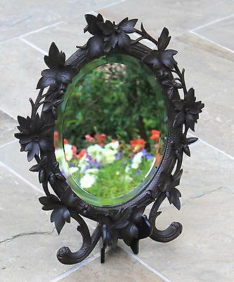 Antique French Oak BLACK FOREST Highly Carved Framed Beveled Oval Wall Mirror