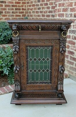 Antique French Oak GOTHIC Black Forest Stained Glass Bookcase Cabinet w Drawer