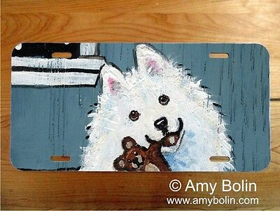Samoyed aluminum LICENSE PLATE Amy Bolin bedtime buddies PERSONALIZE IT