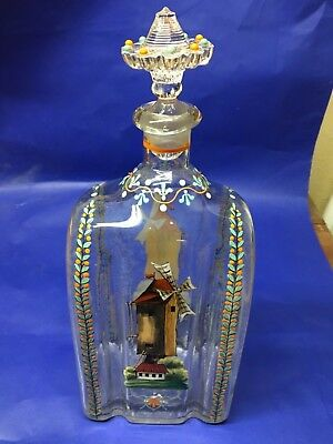 Antique Glass Decanter Hand Painted Pontil