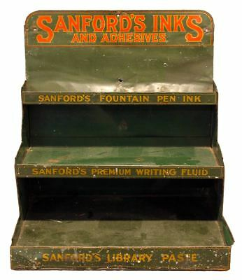 RARE CIRCA 1920s SANFORD'S FOUNTAIN PEN INKS 3 TIERED ADVERTISING STORE DISPLAY