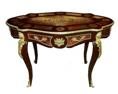 Fine Desk Louis XV style  Boulle brass inlaid center table desk