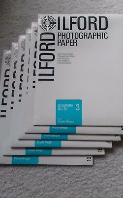 ILFORD photographic paper Ilfobrom 3 double weight LOT of 5 unopened + 1 opened