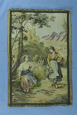 Antique FRENCH TAPESTRY WALL HANGING GIRLS VISITING TAKE BREAK HAULING HAY 04403