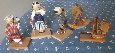 (3) vtg Signed KOKESHI WOOD FIGURES hand painted~(2) BAMBOO MINI BOATS JAPAN