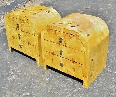 MagnificentPair Art deco style French Elm commodes