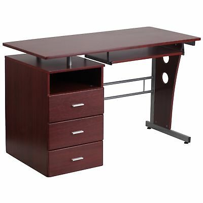 Flash Furniture Mahogany Desk With Three Drawer Pedestal And Pull-Out Keyboard