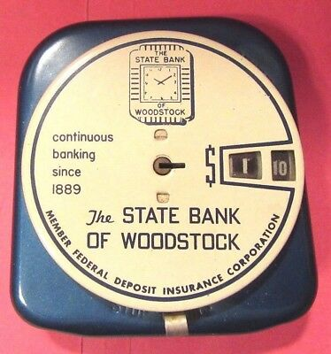 Vintage Add O Coin metal coin bank STATE BANK of WOODSTOCK EXCELLENT CONDITION