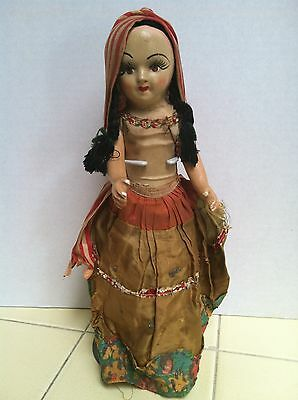 """Old Composition DOLL 13"""" painted Face saw dust Body TLC Old Dolls"""
