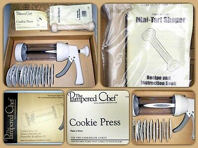 THE PAMPERED CHEF Cookie Press #1525 - BRAND NEW w/ TART SHAPER & INSTRUCTIONS