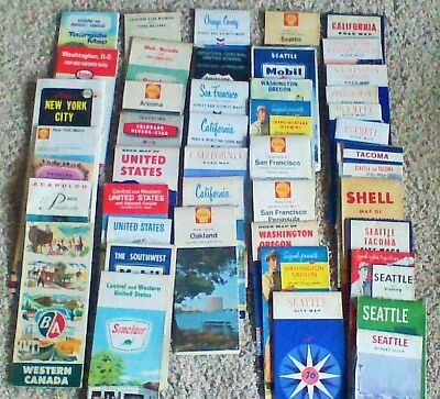 LOT of 47 Plus Vintage Gasoline & Motor Oil ROAD MAPs Most Pre Freeway & Booklet