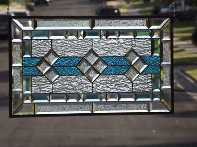 "• ClassicTurquoise •Beveled Stained Glass Window ≈ 28 1/2"" x16 1/2""(72x42cm)"