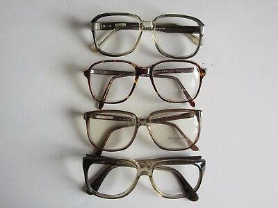 Lot of 4 Men's Plastic Eyeglass Frames Vintage Geoffrey Beene, Etc. NOS