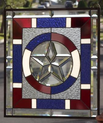 "Proud to be..Beveled Stained Glass Window Panel -21 1/2""X 19 1/2""( 55X50CM)"
