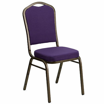 Hercules Series Crown Back Stacking Banquet Chair With Purple Fabric And Thick