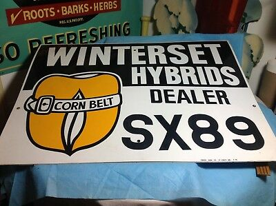 1970's Winterset Hybrids  seed corn dealer metal sign