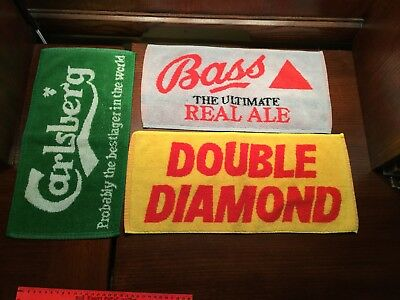 3 Vintage Ale Towels Carlsberg Double Diamond Bass Ale Real