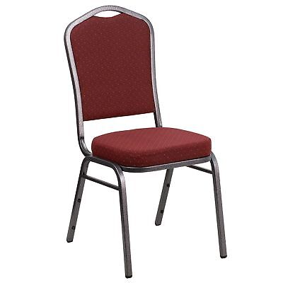 Hercules Series Crown Back Stacking Banquet Chair With Burgundy Patterned And