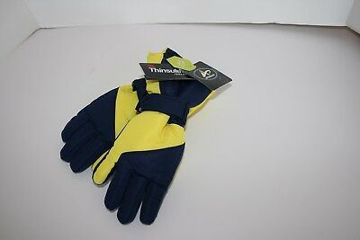 Thinsulate Insulated Water Proof Gloves Navy Yellow Boys M 8/10 Snow/Winter NWT