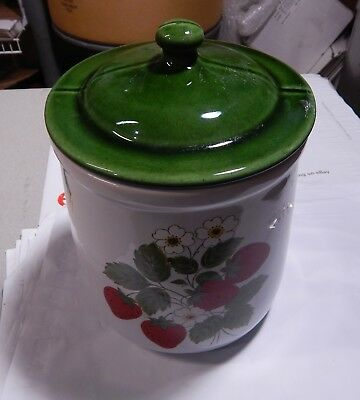 Vintage McCoy Strawberry Country Canister  Cookie Jar  Large  10""