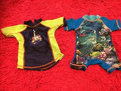 2 x Baby Boys Swimsuit Rashie Sunsuit Swimmers 000