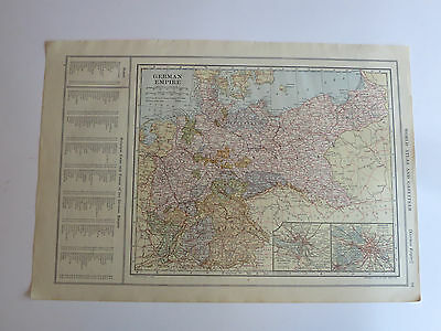 Antique Hundred Year Old Map Of German Empire & South America , Printed 1914