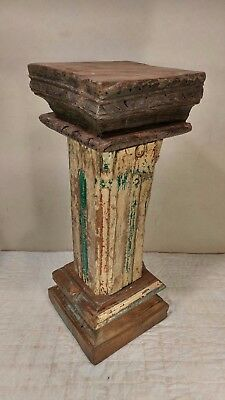 Antique Authentic Primitive Hand Hewn Banister Pedestal Stand - Amazing